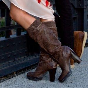 FRYE Mimi Scrunch Tall Brown Leather Platform Boot